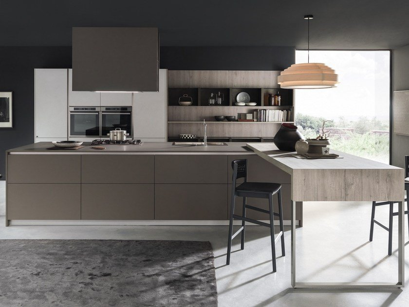 Kitchen with island with integrated handles ARKÈ | Kitchen with island by Pedini