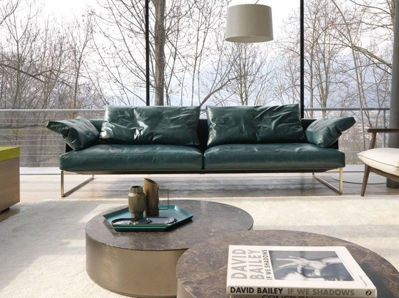3 seater leather sofa with removable cover ARLON | Leather sofa by Désirée divani