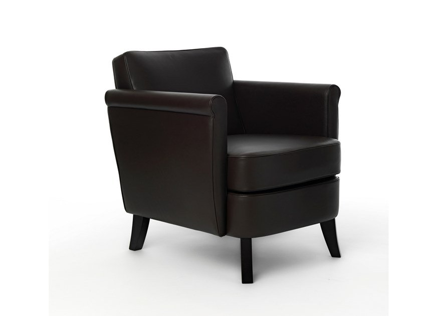 Upholstered leather easy chair with armrests UNDERSIZED | Easy chair by BALERI ITALIA