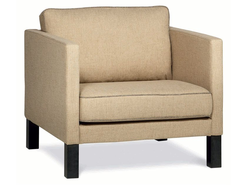 Upholstered fabric armchair with armrests ALIX | Armchair by Désio