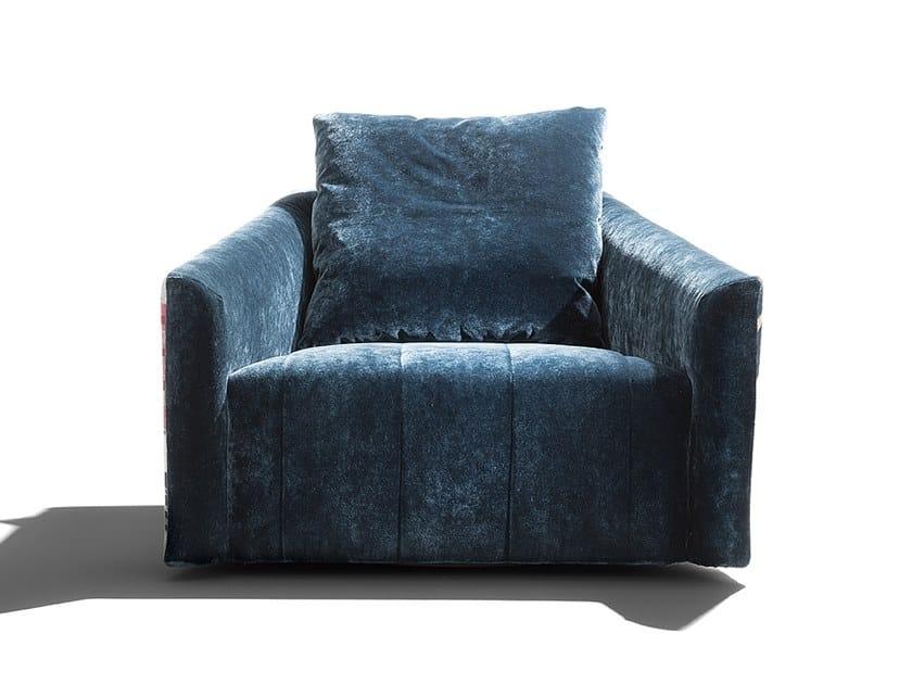 Swivel fabric armchair BELLA DONNA | Swivel armchair by ERBA ITALIA