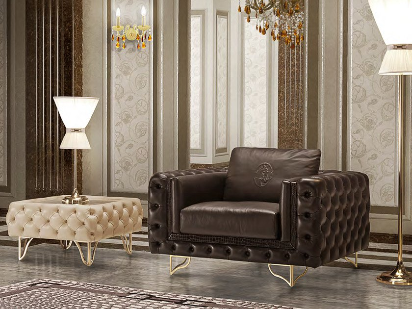 Tufted upholstered leather armchair with armrests ELISA | Armchair by Formitalia