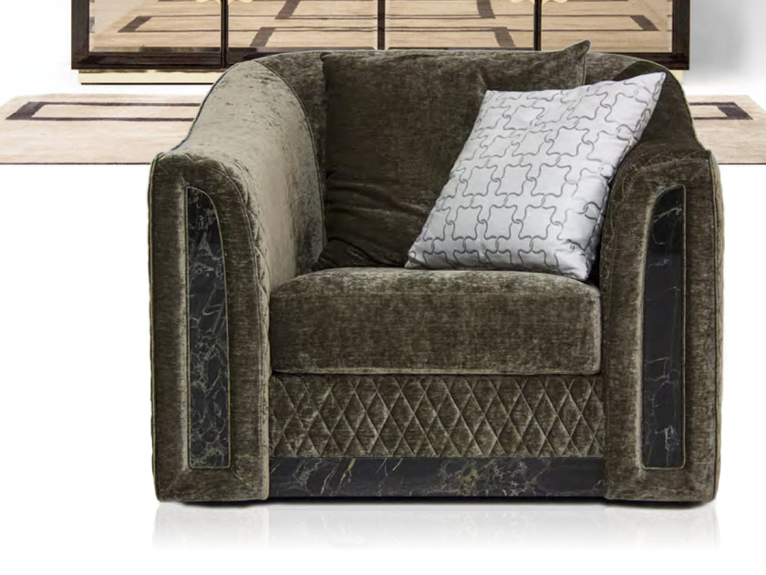 Upholstered velvet armchair with armrests ROYAL | Armchair by Formitalia