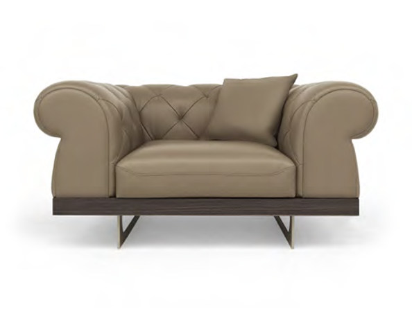 Tufted upholstered leather armchair BOBOLI | Armchair by Formitalia