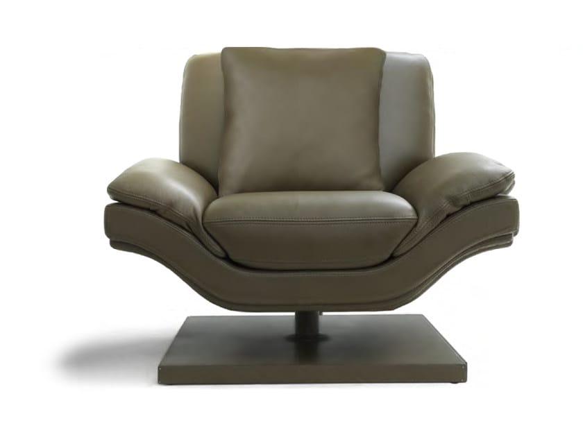 Swivel upholstered leather armchair UFFIZI | Armchair by Formitalia