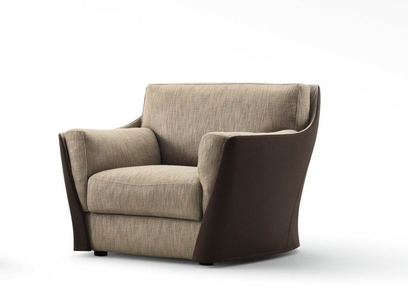 Fabric armchair with removable cover with armrests VITTORIA | Armchair by GIORGETTI