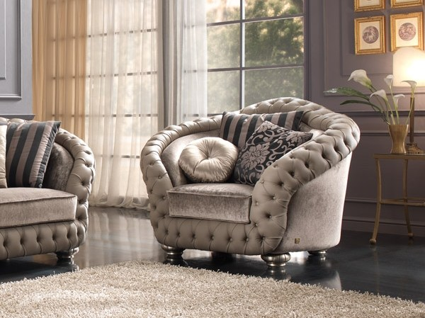 Tufted fabric armchair with armrests ADMIRAL | Armchair by Gold Confort