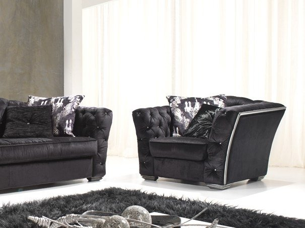 Tufted fabric armchair with armrests FASHION | Armchair by Gold Confort