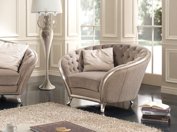 Tufted fabric armchair with armrests PETRA | Armchair by Gold Confort