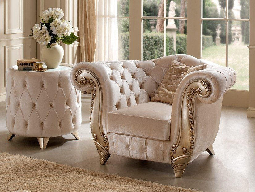 Tufted fabric armchair with armrests ROMANTIC | Armchair by Gold Confort