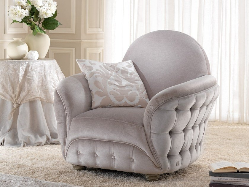 Tufted fabric armchair with armrests SCARLETT | Armchair by Gold Confort