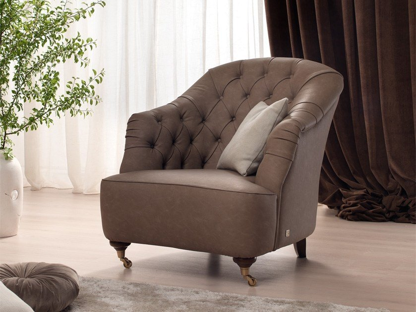 Tufted armchair with armrests with casters GRAY | Armchair by Gold Confort