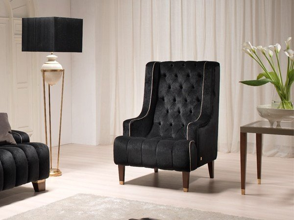 Tufted fabric armchair with armrests JOAN | Armchair by Gold Confort