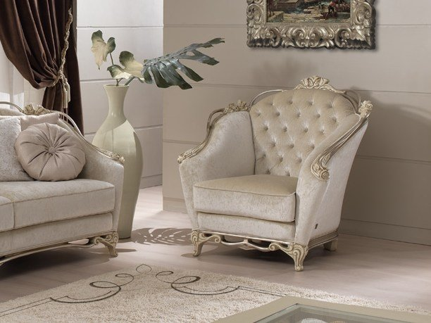 Tufted fabric armchair with armrests ROSE | Armchair by Gold Confort