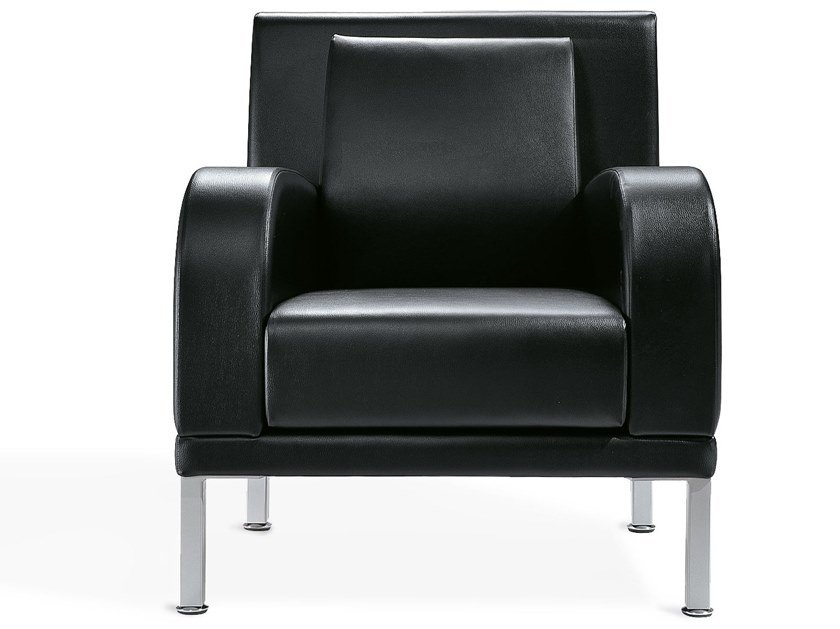 Leather armchair with armrests KRISTALL | Armchair by Kastel