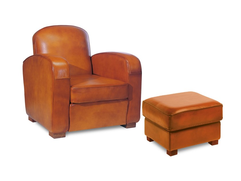 Club tanned leather armchair with footstool CHATHAM | Armchair by Neology
