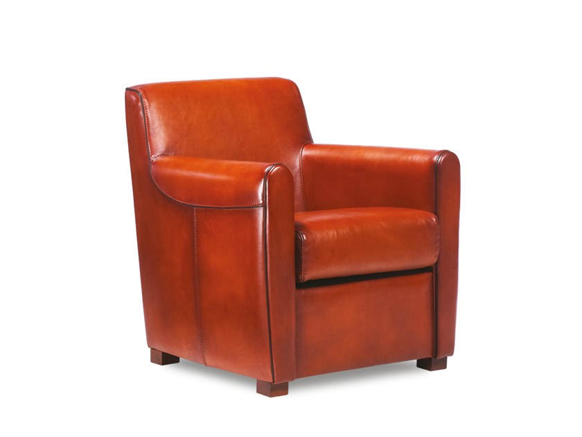 Leather armchair with armrests COOPER | Armchair by Neology