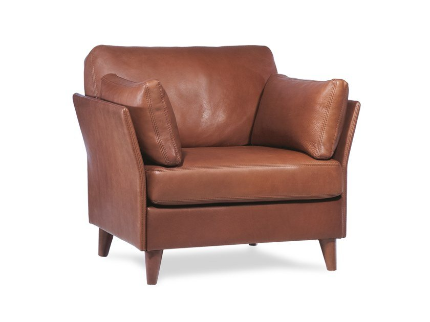 Leather armchair with armrests RIVOLI | Armchair by Neology