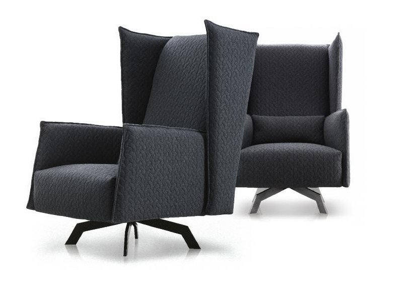 Upholstered fabric armchair with armrests ANN | Armchair by Papadatos