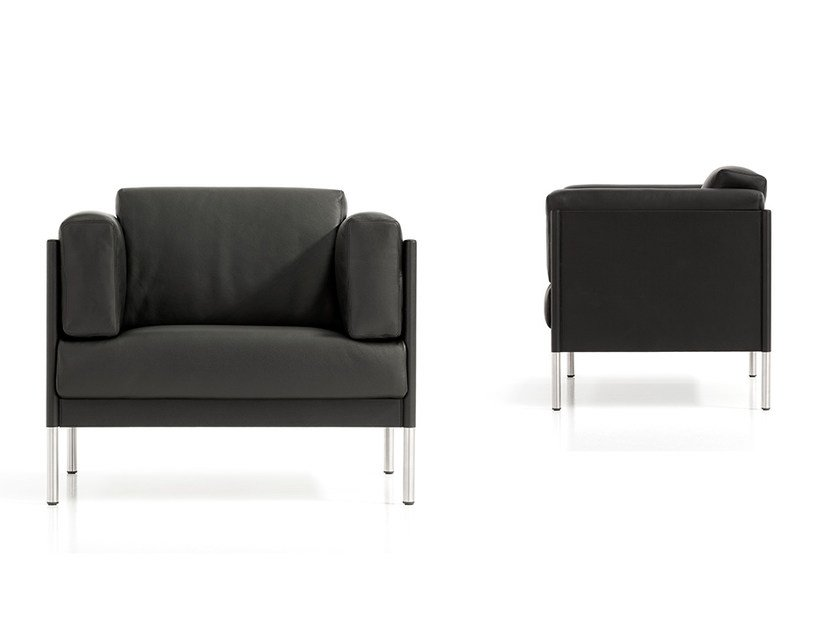 Leather armchair with armrests QUADRA | Armchair by Polflex