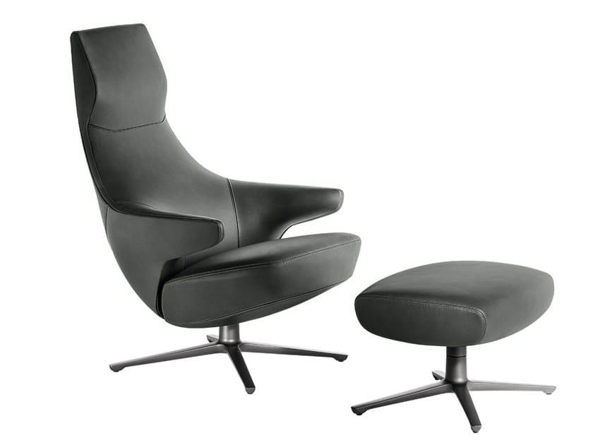 Bergere armchair with 4-spoke base JAY LOUNGE | Armchair by Poltrona Frau