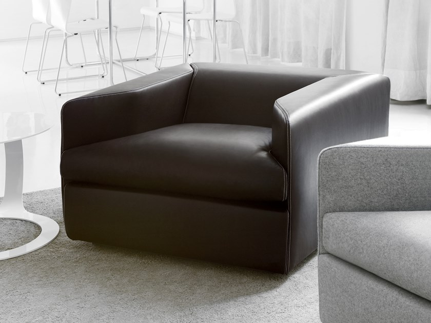 Leather armchair with armrests OPEN | Armchair by spHaus