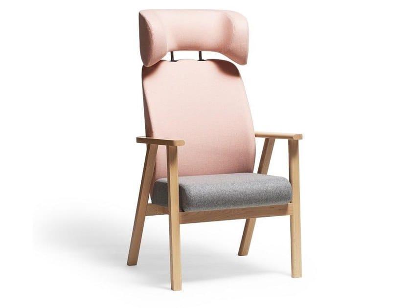 Fabric armchair with headrest SANTIAGO 02 | Armchair by TON