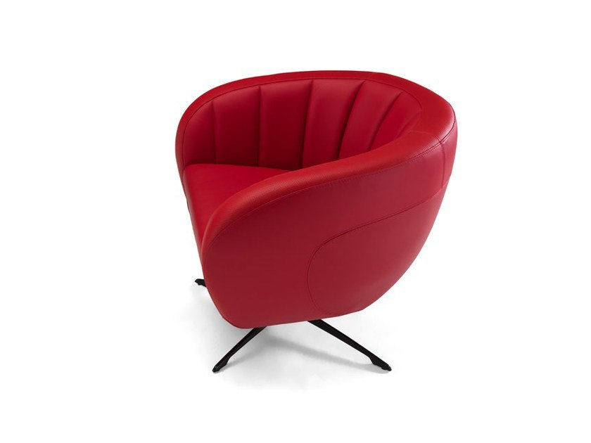 Upholstered leather armchair with 4-spoke base SEPANG | Armchair by Tonino Lamborghini Casa