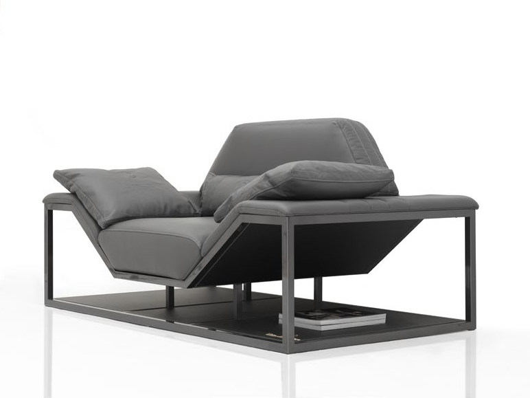 Upholstered leather armchair with armrests LONG BEACH MODERN   Armchair by Tonino Lamborghini Casa