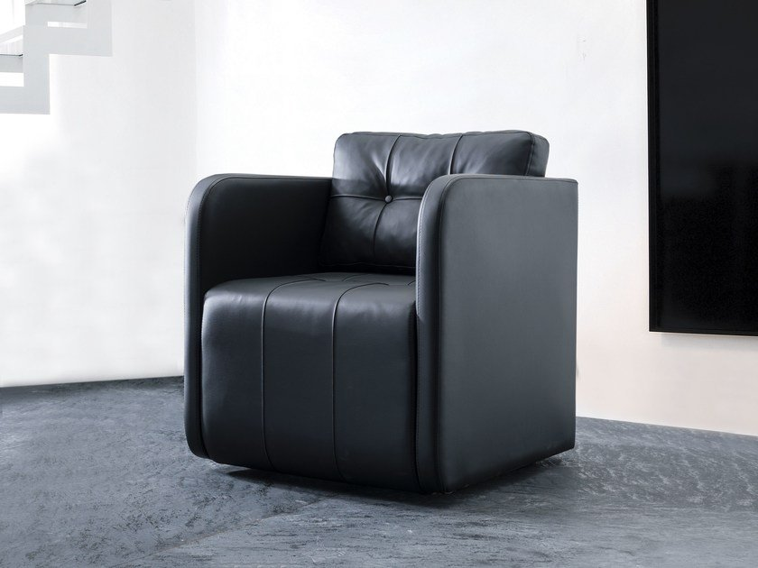 Leather armchair with armrests SWAN | Armchair by Tuna Ofis