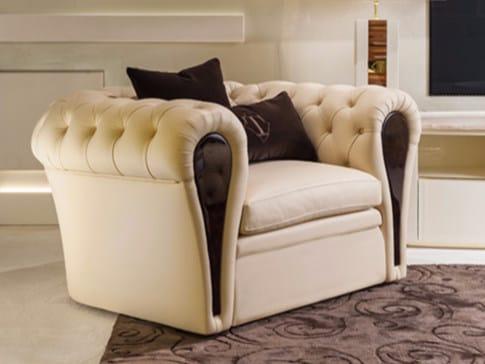 Tufted leather lobby chair with armrests MAYFAIR | Armchair by Turri