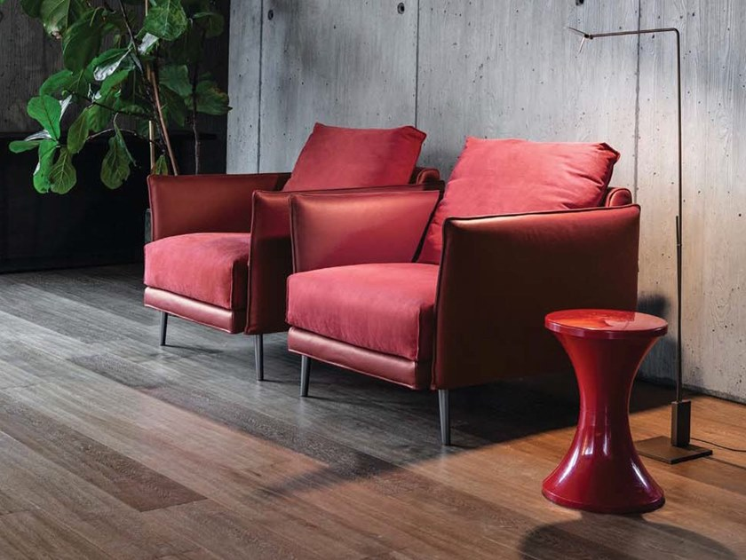 Leather and fabric armchair with armrests FINN   Armchair by Twils Lounge