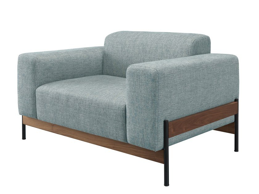 Upholstered fabric lobby chair with armrests BOWIE | Armchair by Wewood