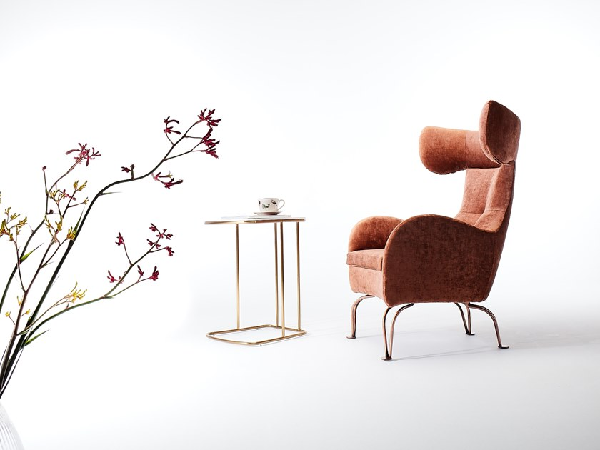 Wing fabric armchair with armrests ARMONIA RL   Wing armchair by VERFO LAB