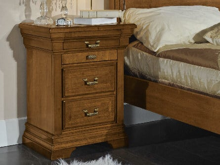 Rectangular bedside table with drawers ARMONIE | Solid wood bedside table by Arvestyle