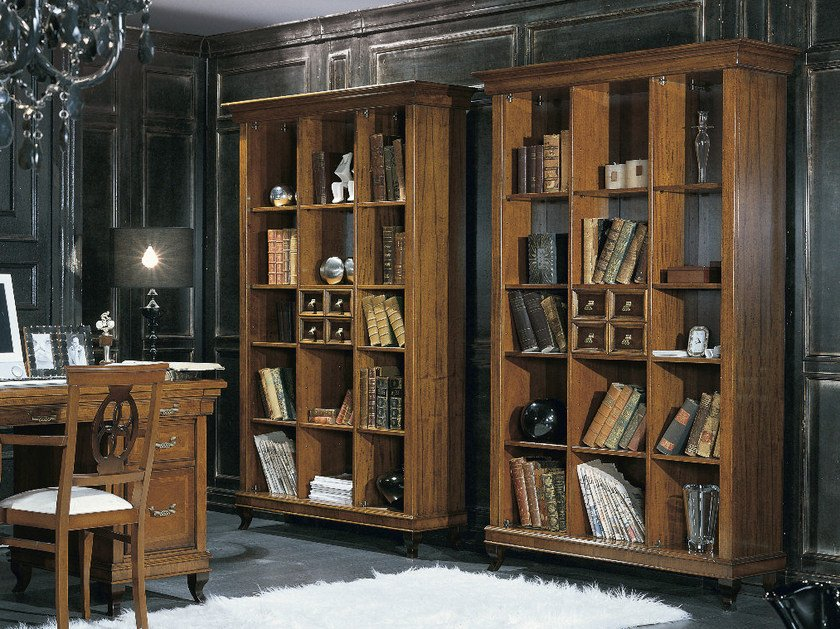 Freestanding wooden bookcase ARMONIE | Open bookcase by Arvestyle