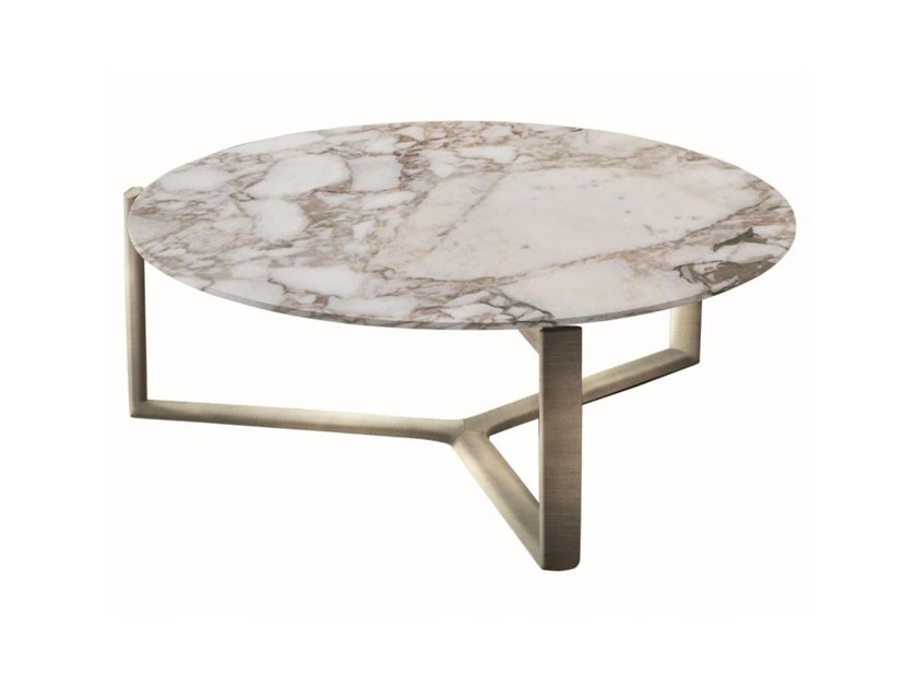 Low round marble coffee table  with metal frame ARNE | Low coffee table by Casamilano