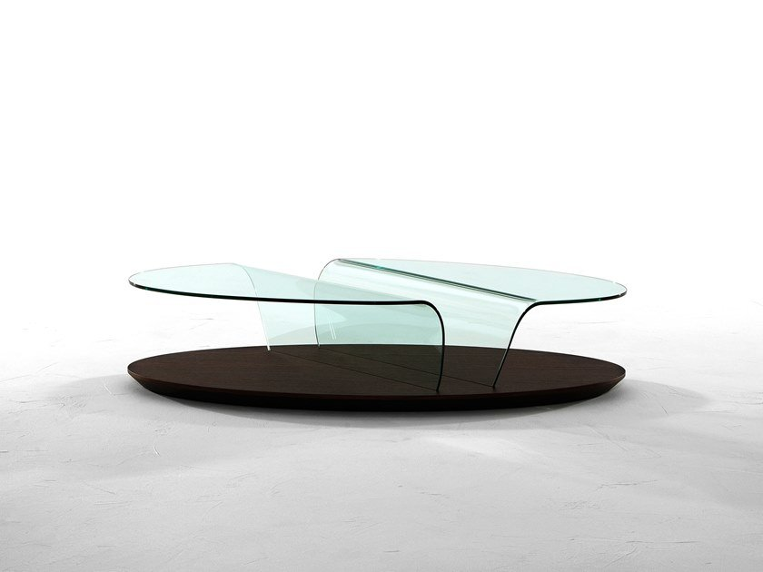 Low oval glass coffee table ARONA by Tonin Casa