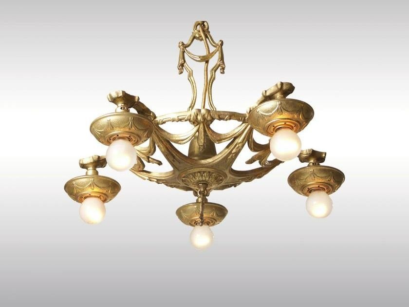 Classic style metal chandelier ART DECO LUSTER 1930 by Woka Lamps Vienna