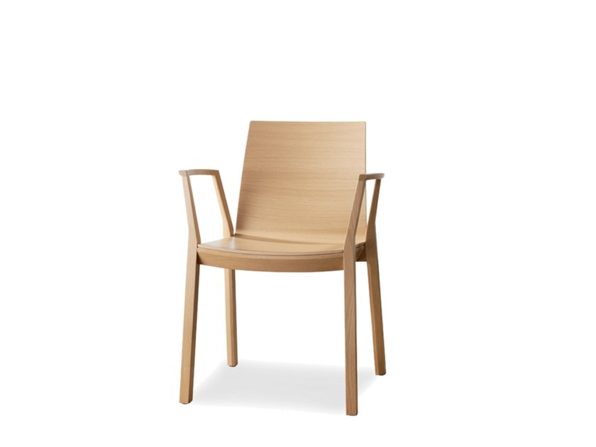 Stackable plywood chair with armrests ARTA   Chair with armrests by Wiesner-Hager
