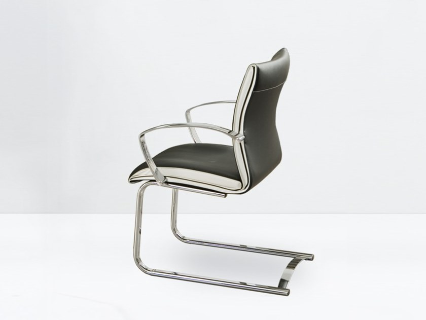 Cantilever leather chair with armrests ARTE 170-FP by delaoliva