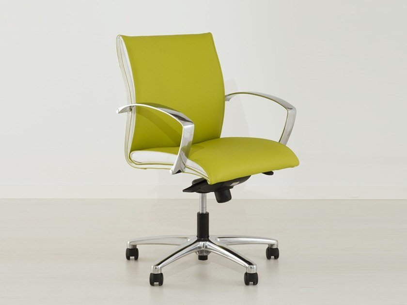 Height-adjustable leather task chair ARTE 170-BB by delaoliva