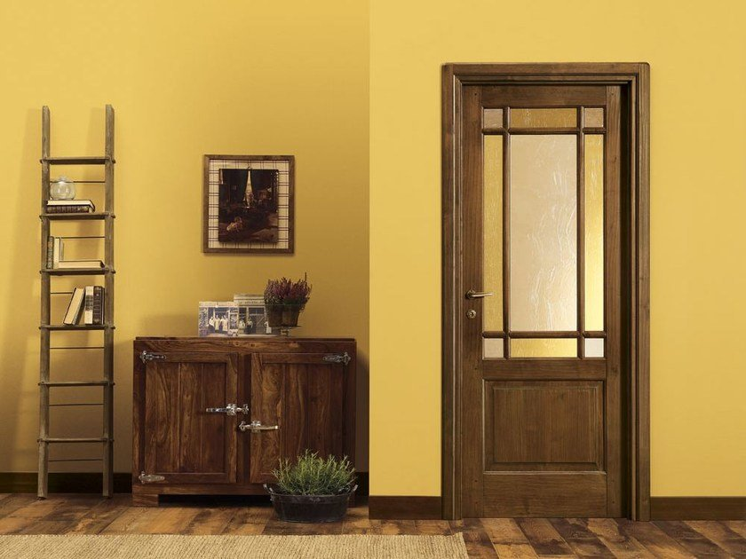 Wood and glass door ARTE POVERA by LEGNOFORM