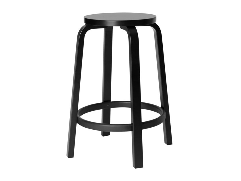 High birch stool ARTEK - 64 Black by Archiproducts.com