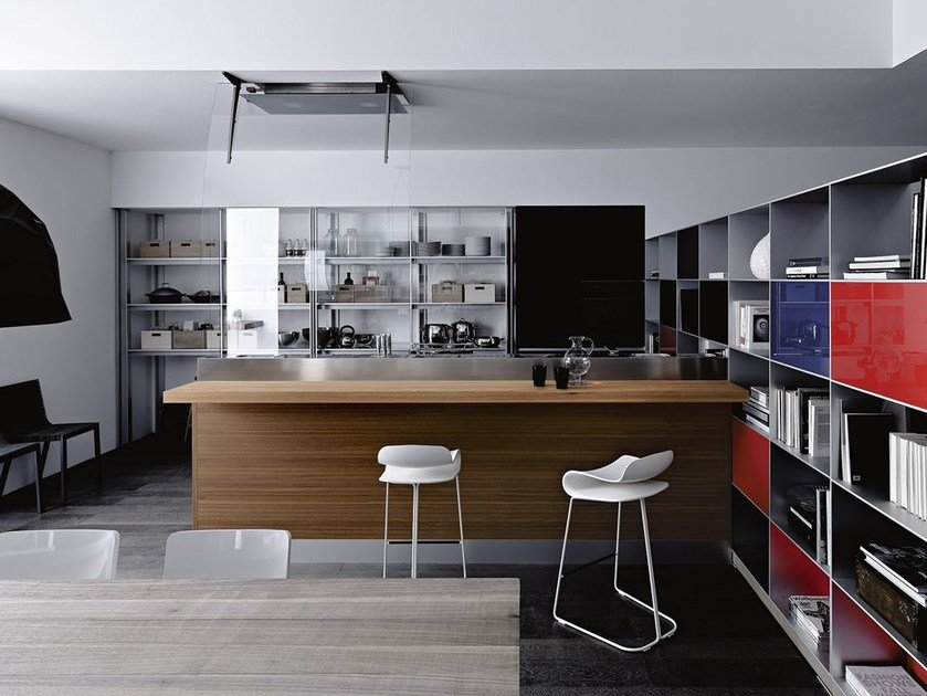 Glass fitted kitchen ARTEMATICA VITRUM - NERO LAVAGNA by VALCUCINE
