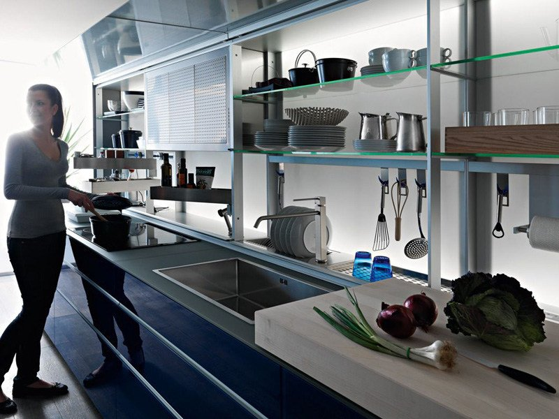 Glass fitted kitchen ARTEMATICA VITRUM - BLU by VALCUCINE
