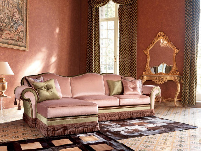 Fabric sofa with chaise longue ARTHUR | Sofa with chaise longue by Domingo Salotti