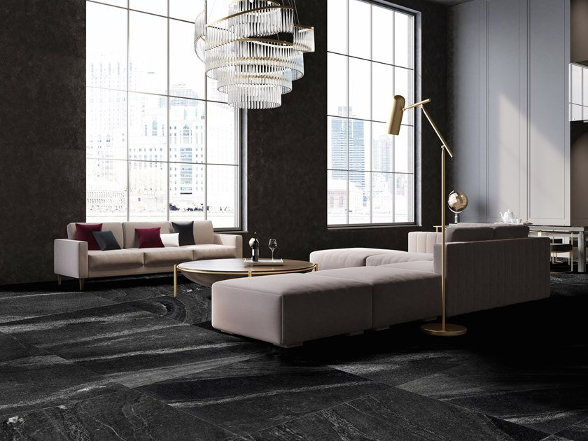 Porcelain stoneware wall/floor tiles with marble effect ARTIC BLACK by ITT Ceramic
