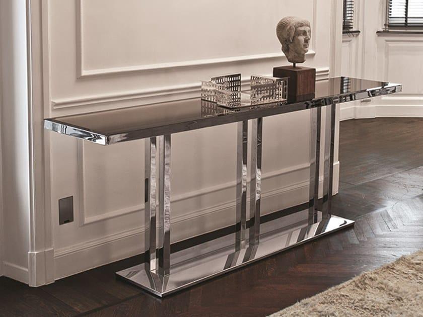 Consolle rettangolare in acciaio e vetro art consolle for Consolle in vetro