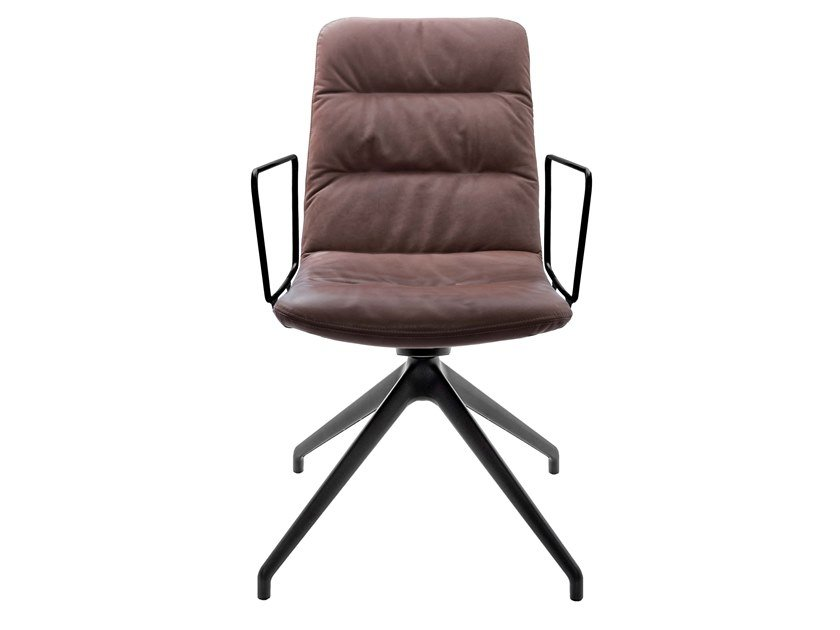 Upholstered trestle-based leather chair with armrests ARVA LIGHT   Trestle-based chair by KFF